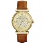 นาฬิกาข้อมือ Michael Kors MK2375 Michael Kors Catlin Champagne Crystal Pave Dial Leather Ladies Watch MK2375