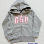 เสื้อกันหนาว Gap ซิปหน้า มีฮูด สีเทา โลโก้ปักขอบชมพู size : S (6-7y)