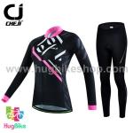 ชุดจักรยานผู้หญิงแขนยาวขายาว CheJi 16 (21) สีดำขีดชมพูขาว
