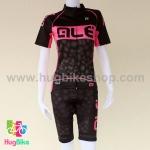 ชุดจักรยานผู้หญิงแขนสั้นขาสั้น ALE 16 (03) สีดำชมพูลายฟองน้ำ
