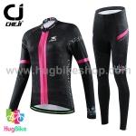 ชุดจักรยานผู้หญิงแขนยาวขายาว CheJi 15 (07) สีดำแถบชมพู