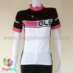 เสื้อจักรยานผู้หญิงแขนสั้น ALE 16 (07) สีขาวดำชมพู