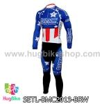 ชุดจักรยานแขนยาวทีม BMC 13 สีน้ำเงินลายขาว