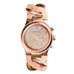 นาฬิกาข้อมือ Michael Kors MK4283 Michael Kors Runway Twist Rose Dial Rose Gold-tone Ladies Watch MK4283