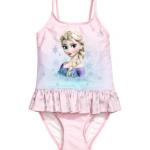 H&M : ชุดว่ายน้ำ รุ่น Swimsuit with a flounce ลาย Frozen สีชมพูอ่อน size : 1.5-2y / 4-6y