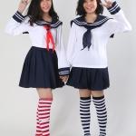 เช่าชุดแฟนซี &#x2665 ชุดแฟนซี นักเรียนญี่ปุ่นแขนยาว ผ้าพันคอแดงและผ้าพันคอน้ำเงิน สำเนา