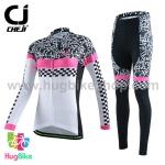 ชุดจักรยานผู้หญิงแขนยาวขายาว CheJi 15 (02) สีขาวลายดำชมพู