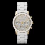 นาฬิกาข้อมือ Michael Kors MK5145 Runway Silver Dial White Polyurethane Ladies Watch Size 38 mm