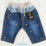 ZARA kids : กางเกงยีนส์ขา 3 ส่วน เอวยางยืด มีเชือกผูก size : 1