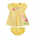 Carter's : ชุดเดรสคอบัวผ้ายืดเนื้อนิ่มปักลายผีเสื้อสีเหลือง พร้อมกางเกงใน