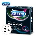 Durex Condoms ถุงยางอนามัย ดูเร็กซ์ ดูอัล เพลย์เชอร์ ผิวไม่เรียบ แบบปุ่มและขีด มีสวนผสมของสารเบนโซเคน 5% w/w ลดความไวต่อความรู้สึกสัมผัส (บรรจุ 3 ชิ้น) - 56 มม.