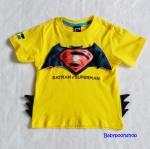 Bat&Sup : เสื้อยืด Batman Supperman สีเหลือง size : L (7-8y) / XL (9-10y)