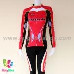ชุดจักรยานแขนยาวขายาว Mysenlan 16 (01) สีชมพูบานเย็นดำ