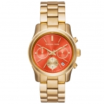 นาฬิกาข้อมือ Michael Kors MK6162 Michael Kors Runway Chronograph Orange Dial Gold-tone Ladies