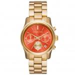 นาฬิกาข้อมือ Michael Kors MK6162 Michael Kors Runway Chronograph Orange Dial Gold-tone Ladies