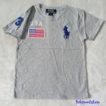 Polo : เสื้อยืด ปักลายธงชาติ USA สีเทา size : 4-6y / 6-8y / 8-10y / 10-12y