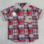 TOMMY : เชิ๊ตลายสก็อต สีแดง ปกเทา ผ้านิ่ม size 4