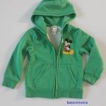 H&M : เสื้อกันหนาว มีฮูด ข้างในบุผ้าสำลี ผ้าไม่หนามาก สกรีนลายมิกกี้เมาส์ สีเขียว size : 2-3y / 4-5y