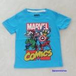 Marvel : เสื้อยืดแขนสั้น Marvel Comics สีฟ้า size : 1-2y / 4-6y / 8-10y