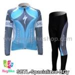 ชุดจักรยานแขนยาวทีม Specialized สีฟ้าเทา