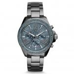นาฬิกาข้อมือ Michael Kors MK6097 Wren Chronograph Blue Crystal Pave Dial Gunmetal Ion-plated Mens Watch MK6097