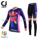 ชุดจักรยานผู้หญิงแขนยาวขายาว CheJi 15 (09) สีน้ำเงินลาย Rose Kiss