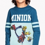 H&M : เสื้อยืดแขนยาว มินเนียน สีฟ้า size : 1-2y / 2-4y / 10-12y