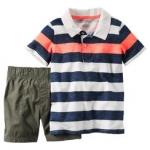 Carter's : ชุดเซ็ท เสื้อโปโล ลายขวางสีเทา ส้ม พร้อม กางเกง ขาสั้น สีเขียวขี้ม้า size 2T