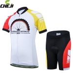 ชุดจักรยานเด็กแขนสั้นขาสั้น CheJi สีขาวแดงเหลือง สั่งจอง (Pre-order)