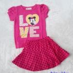 H&M : Set เสื้อ+กระโปรง มินนี่ สีชมพูเข้ม (กระโปรงมีกางเกงข้างใน) size 3-4y / 4-5y / 5-6y