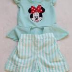 Ploy : set เสื้อ+กางเกง ปักลายมินนี่เมาส์ สีเขียวมินท์ size XL (7-8y)
