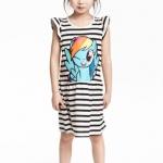 H&M : เดรสลายขวาง ม้าโพนี่ Rainbow Dash ผ้า cotton ยืด (งานช้อป) size : 1-2y