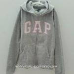 Gap Kids : กันหนาว GAP ซิปหน้า สีเทา โลโก้ ขอบชมพู size 120