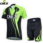 ชุดจักรยานเด็กแขนสั้นขาสั้น CheJi สีเขียวดำ สั่งจอง (Pre-order)