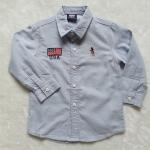 POLO : เสื้อเชิ๊ตแขนยาว สีเทาฟ้า ปัก ธงชาติ USA Size : 1
