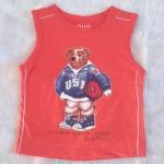 POLO : เสื้อกล้ามสกรีนลายน้องหมี ถือลูกบาส สีส้ม size : 1 / 3 / 4 / 5 / 6 / 7 / 9 / 11 / 12