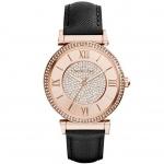นาฬิกาข้อมือ Michael Kors MK2376 Michael Kors Catlin Rose Crystal-set Black Leather Ladies Watch