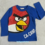 H&M : เสื้อยืดแขนยาวสกรีนลาย Angry Bird สีน้ำเงิน size : 2-4y