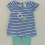 Ashley's ชุดเสื้อทรงเดรสปักดอกไม้ พร้อมเลกกิ้งสีฟ้า