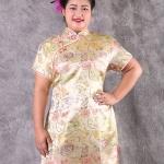 เช่าชุดแฟนซี &#x2665 ชุดกี่เพ้า จีน ไซส์ใหญ่ ผ้าไหมจีน สีทอง ไซส์ 4XL