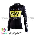 เสื้อจักรยานผู้หญิงแขนยาวทีม Sky สีดำเหลือง