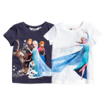 H&M : เสื้อยืด สกรีนลาย Frozen สีน้ำเงิน (งานช้อป) ตัวซ้าย size 1.5-2y