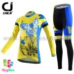 ชุดจักรยานผู้หญิงแขนยาวขายาว CheJi 15 (10) สีเหลืองน้ำเงิน ลายผีเสื้อ