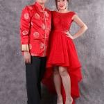 เช่าชุดแต่งงาน &#x2665 ชุดแต่งงาน งานยกน้ำชา ลูกไม้ทั้งตัวแต่งคริสตัล หน้าสั้นหลังยาว สีแดง