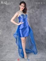 เช่าชุดราตรี &#x2665 ชุดราตรีหน้าสั้นหลังยาว เกาะอกผ้าแก้ว แต่งโบว์ด้านหลัง - สีน้ำเงิน