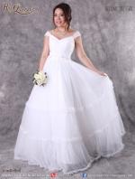 เช่าชุดแต่งงาน &#x2665 ชุดแต่งงาน ชุดเจ้าสาว ไหล่ปาด กระโปรงรูดระบายทั้งตัว หวานดั่งเจ้าหญิง