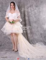 เช่าชุดแต่งงาน &#x2665 ชุดแต่งงาน ชุดชุดเจ้าสาว หน้าสั้นหลังยาว ไหล่ปาด สีครีม ปักแต่งลูกไม้ ใบไม้ ชายยาว