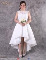 เช่าชุดแต่งงาน &#x2665 ชุดแต่งงาน ชุดเจ้าสาว แบบเรียบหรู ดูดี แขนกุด หน้าสั้นหลังยาวสไตล์เกาหลี