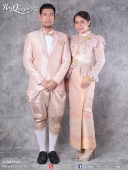 เช่าชุดแต่งงาน &#x2665 ชุดไทยแต่งงานไทยประยุกต์ โทนสีนู๊ด อมชมพู