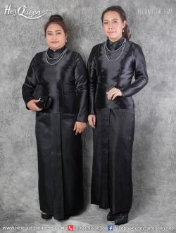 เช่า - ขาย ชุดไทยกราบพระบรมศพ &#x2665 ชุดไทยบรมพิมาน สีดำ ไว้อาลัย ผ้าถุงสำเร็จ หน้านาง งานผ้าไทย